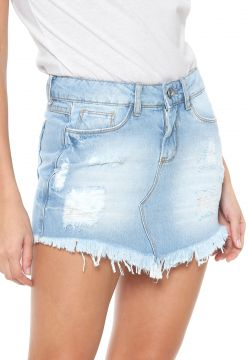Saia Jeans Planet Girls Destroyed Azul Planet Girls