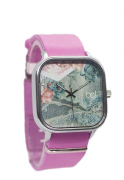Relógio Bewatch Pulseira de Couro Rosa Jeans Floral Bewatch