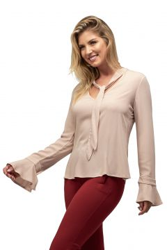 Blusa Crepe MX Fashion Anastacia Nude MX Fashion