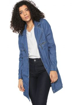 Casaco Trench Coat Jeans My Favorite Thing(s) Alongado Azul