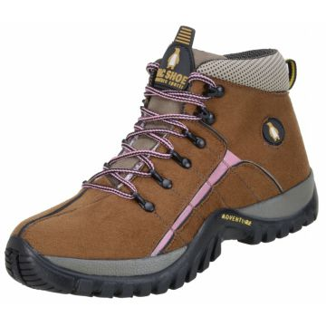 Bota MacShoes Adventure Trail Marrom Rosa MacShoes