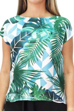 Blusa 101 Resort Wear Estampada Branca 101 Resort Wear