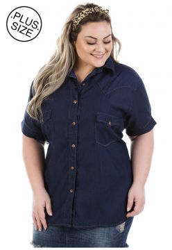 Camisa Jeans Plus Size - Confidencial Extra Judy Manga Curt