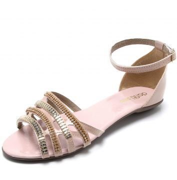 Rasteira DAFITI SHOES Verniz Nude DAFITI SHOES