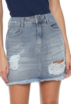 Saia Jeans Hering Curta Destroyed Azul Hering