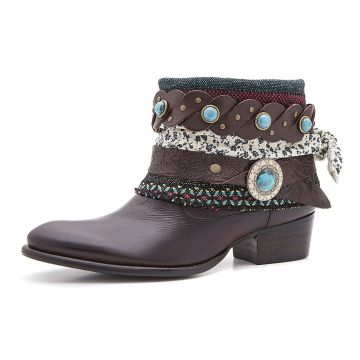Bota Boho Chic Couro Charlotte Look Sioux Brown CHARLOTTE L