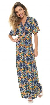 Vestido Blue Man Longo Estampado Azul Blue Man