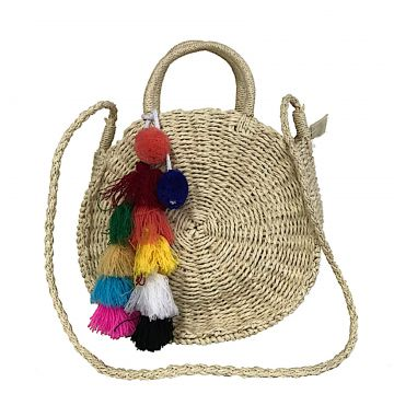 Bolsa Tiracolo Its! Palha Redonda Com Pom Pom Natural Its!