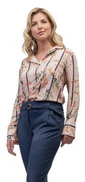 Blusa Viscose MX Fashion Floral Begônia Rosê MX Fashion