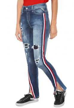 Calça Jeans Replay Slim Listra Azul Replay