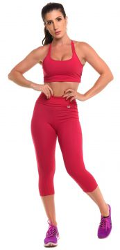 Conjunto Sandy Fitness Open Run Vermelho Sandy Fitness