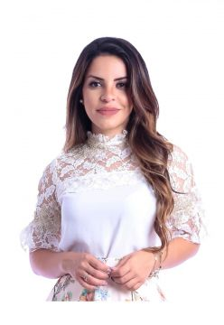 Blusa Miss Lady Viscose Off-white com Bordados Miss Lady
