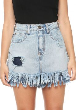 Short-saia Jeans Triton Destroyed Azul Triton