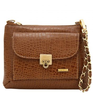 Bolsa Corazzi Leather Deluxe Croco Caramelo Corazzi Leather