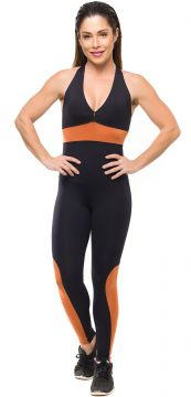 Macacão Sandy Fitness Absolut Bronze Preto Sandy Fitness