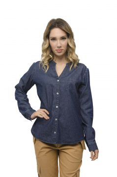 Camisa Jeans Miss Joy Manga Longa Denim Miss Joy