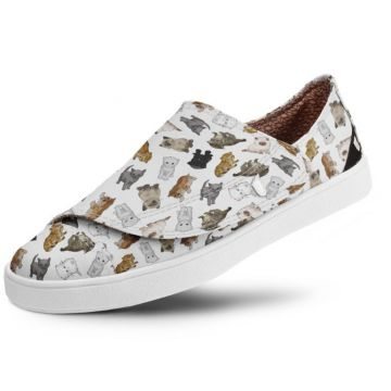 Slip On Usthemp One Vegano Casual Estampa Baby Cats Branco