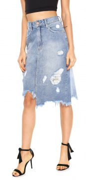 Saia Jeans Zoomp Midi Destroyed Azul Zoomp