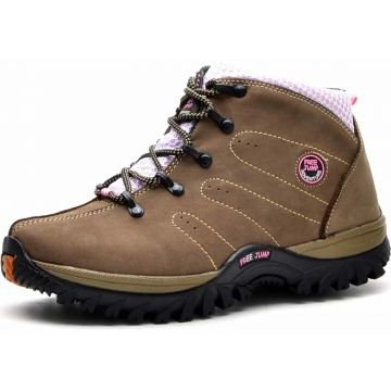 Bota Adventure Cano Curto em Couro Free Jump Bege Free Jump