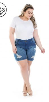 Short Jeans Plus Size - Confidencial Extra Destroyed Shakir