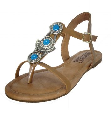 Rasteira Arrive Fashion Rebeca Camel Arrive Fashion