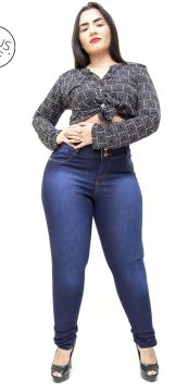 Calça Jeans Credencial Plus Size Skinny Nayanny Azul Creden