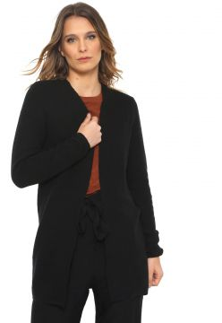 Maxi Cardigan Only Tricot Liso Preto Only