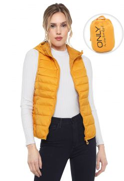 Colete Puffer Only Com Capuz Amarelo Only