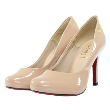 df4f7a3290 Scarpin Salto Alto Week Shoes Bico Redondo Verniz Nude Week