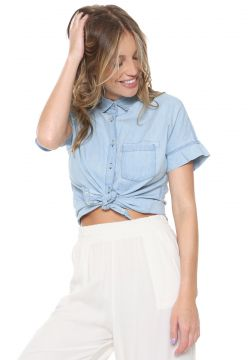Camisa Jeans Hering Bolso Azul Hering