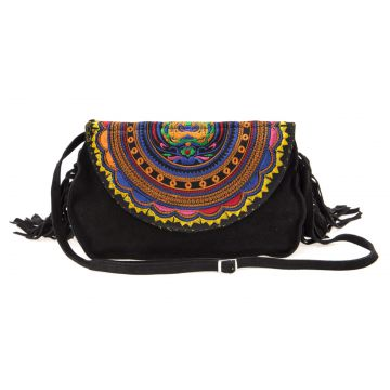 Bolsa Transversal Sneak Peek Fringe Preto Sneak Peek