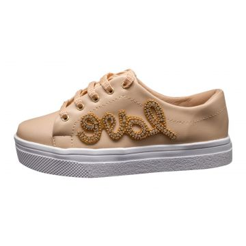 Tenis Hope Shoes Pedraria Love Bege Hope Shoes
