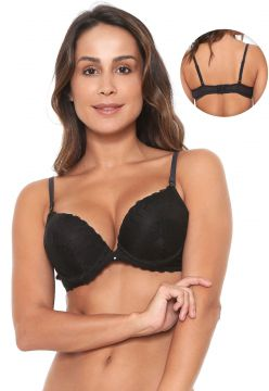 Sutiã Liz Push Up Renda Preto Liz