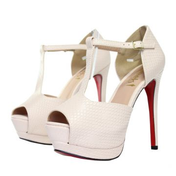 5f46b40a16 Sandália Meia Pata Week Shoes Verniz Croco Nude Week shoes