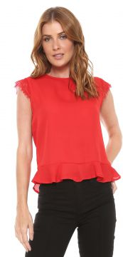 Blusa For Why Peplum Renda Vermelha For Why