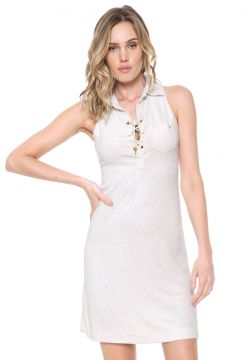 Vestido Agua de Coco por Liana Thomaz Curto Lace Up Off-whi