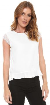 Blusa For Why Peplum Renda Off-white For Why