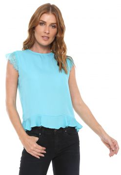 Blusa For Why Peplum Renda Azul For Why