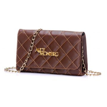 Bolsa Alice Monteiro Clutch Alça Corrente - Metalassê Marro