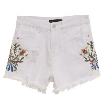 Short Urban96 Jeans Branco Bordado Urban96