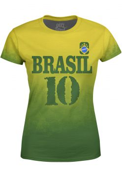 Camiseta Estampada Baby Look Over Fame Brasil Verde Over Fa