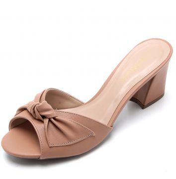 Tamanco DAFITI SHOES Laço Nude DAFITI SHOES