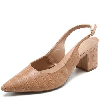 Scarpin DAFITI SHOES Croco Bege DAFITI SHOES