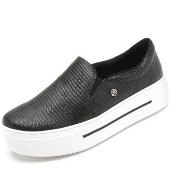 Slip On Via Marte Liso Preto Via Marte
