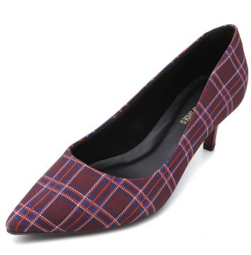 Scarpin DAFITI SHOES Xadrez Vinho DAFITI SHOES