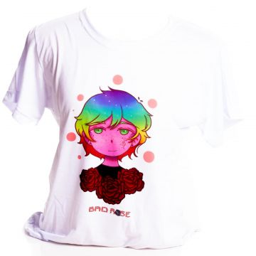 Camiseta Branca Bad Rose Personagem Autoral Nanami Nem Sih