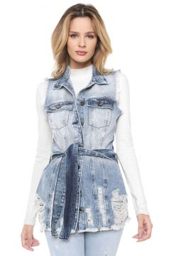 Maxi Colete Jeans dimy Destroyed Azul dimy