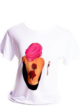 Camiseta Branca Bad Rose Personagem Autoral Nanami Nem Fell