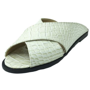 Rasteira Antonietta Couro Crocodilo Off-White Antonietta