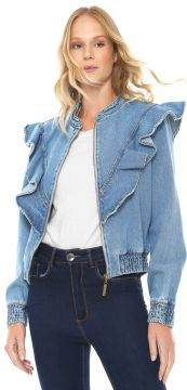 Jaqueta Bomber Jeans My Favorite Thing(s) Babados Azul My F